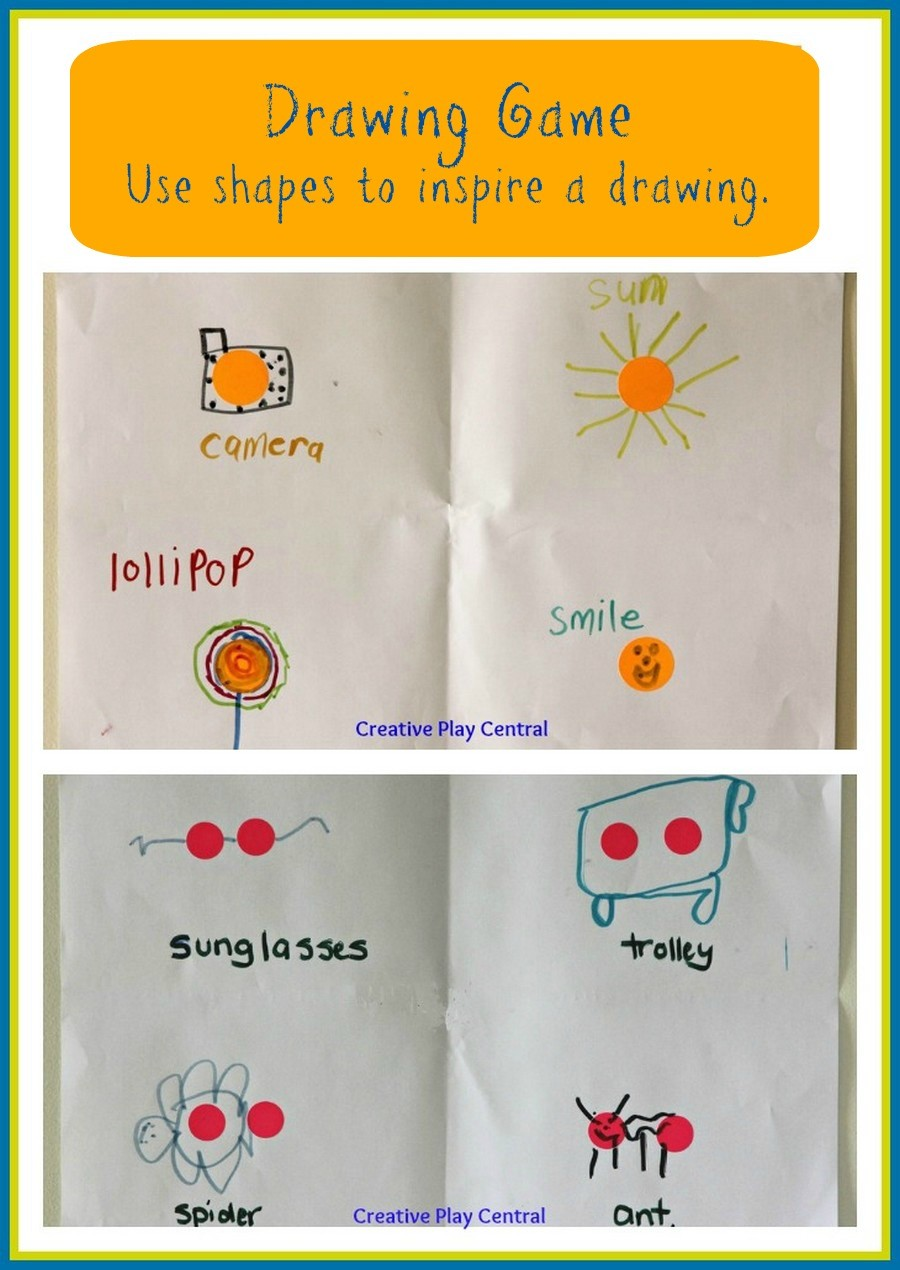Drawing game - use shapes to inspire a drawing