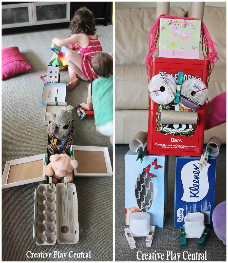Shoe box construction collage for blog