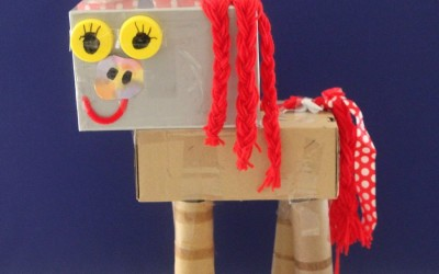 Sculptures with Recycled Materials and Craft Supplies