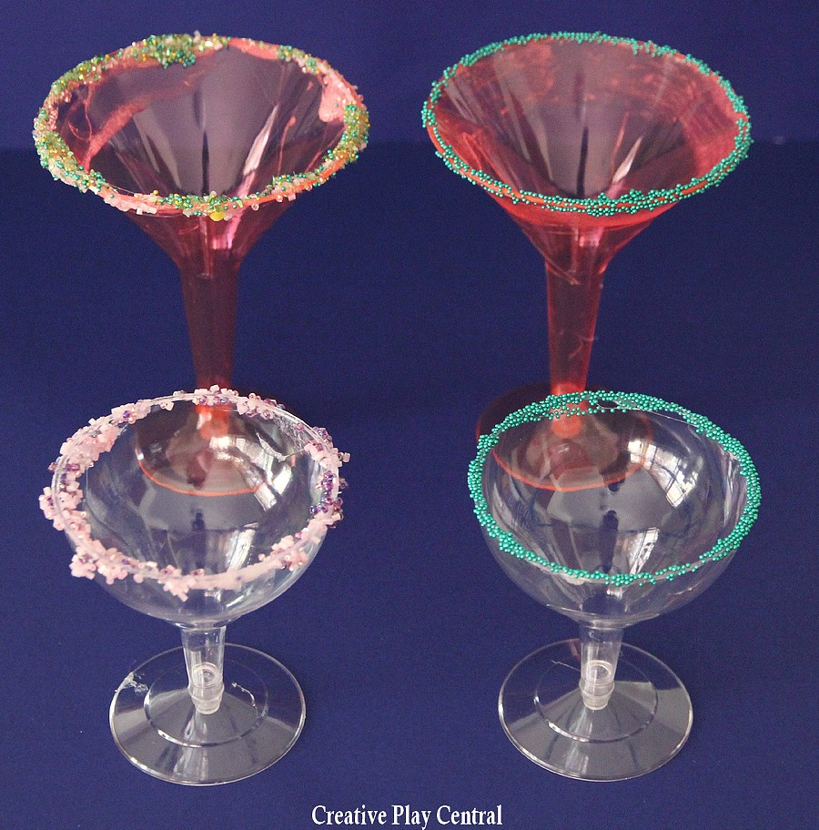 Fancy cups - tall pink, pink and green