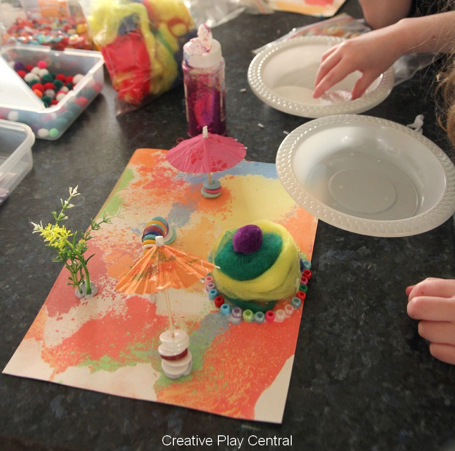 Recycling chalk prints - creating Pip and Pop inspired art